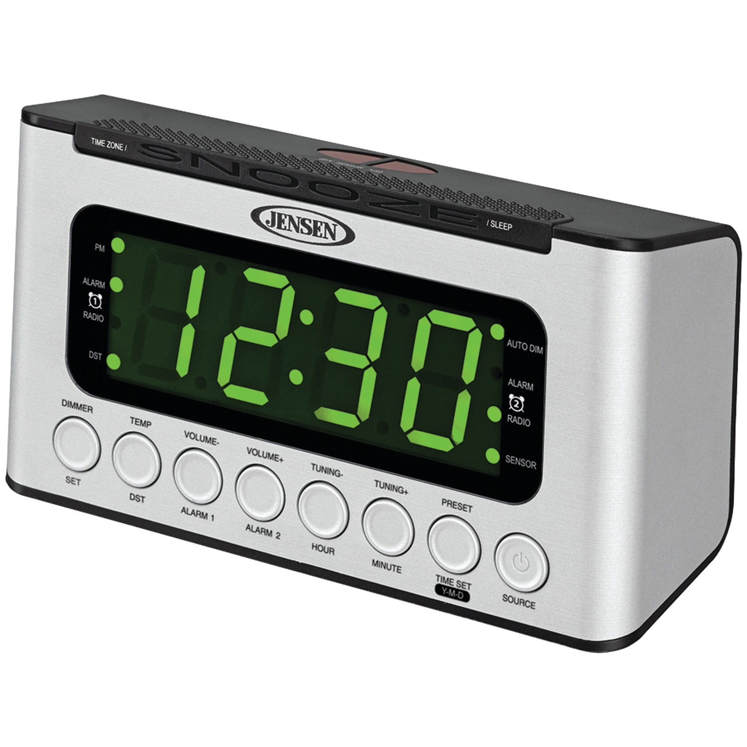 jensen jcr 231 digital am fm dual alarm clock radio with wave sensor ebay. Black Bedroom Furniture Sets. Home Design Ideas