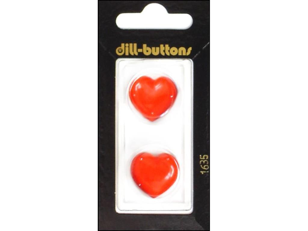 DILL BUTTONS OF AMERICA DIL1635  DILL BUTTONS 20MM 2PC SHANK HEART RED
