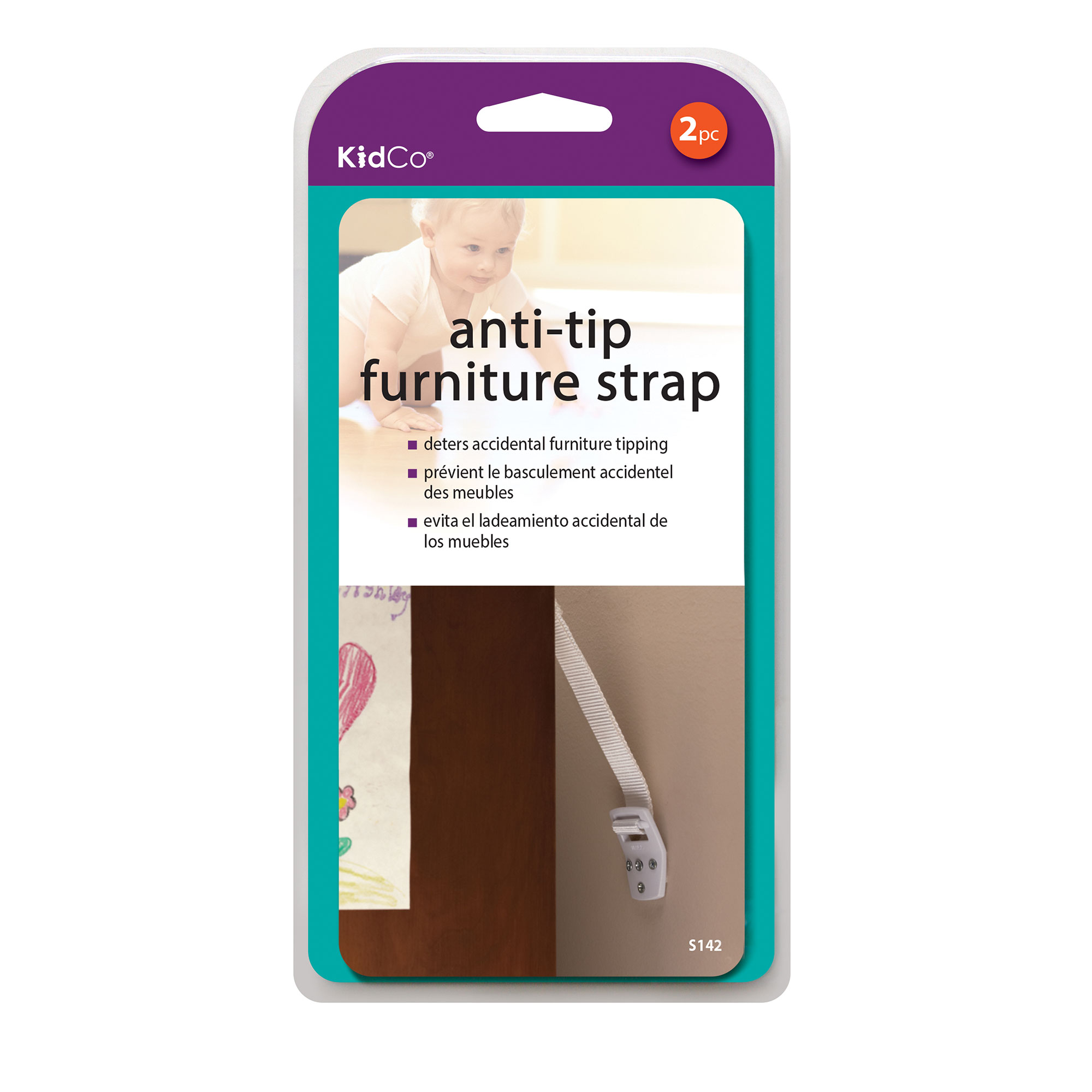 NEW White 2 Count KidCo Anti-tip furniture Strap - FREE SHIPPING